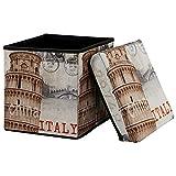[en.casa] Faltbarer Sitzhocker (30 x 30 x 30 cm) zugleich Aufbewahrungsbox - Motiv Italien