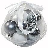 Koopman International b.v. 12tlg. Mini Weihnachtskugeln 3cm KUGEL Gesteck Deko Basteln Advent Weihnachten, Farbe:Anthrazit-Weiß-Silber
