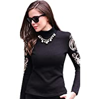 CBIN&HUA Blusa Da donna Increspato A collo alto Manica lunga