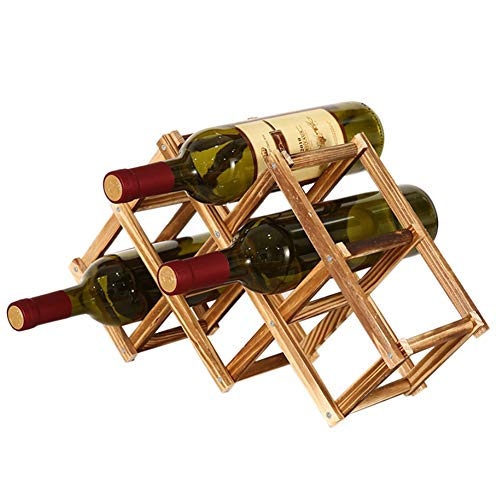 Alexsix Wooden Wine Rack 3/6/10 Bottle Holder Folding Drink Bottle Bar Display Shelf -