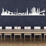 DesignDivil Stadt Sehenswürdigkeiten der Welt. Qualität Vinyl Matt Wand Aufkleber. 6Farbe Optionen, Taubengrau, 90cm x 17cm