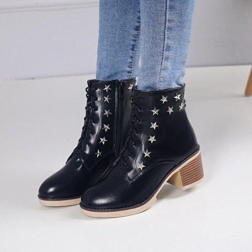 Mee Shoes Damen chunky heels Plateau Schnürsenkel Martin Boots Schwarz