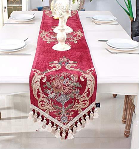 Tischläufer Barocke Rotes Dreieck Im Europäischen Stil, Rechteckigen Vintage Tabelle Runner...