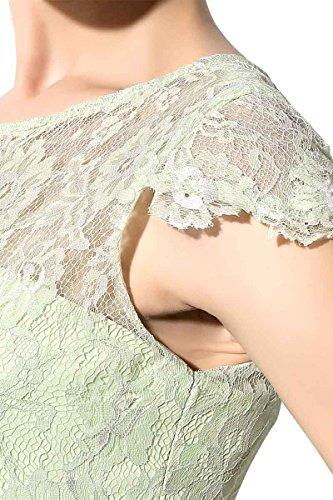 Sarahbridal Damen Bodenlang Chiffon Rundhalsausschnitt Hohe Taille Abendmode Party Kleider mit Spitze SSD213 Sage