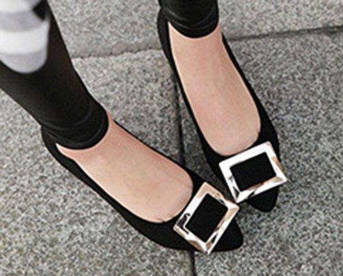 Aisun Femme Sexy Tire Carré Kitten-Heel Pointue Escarpins Noir