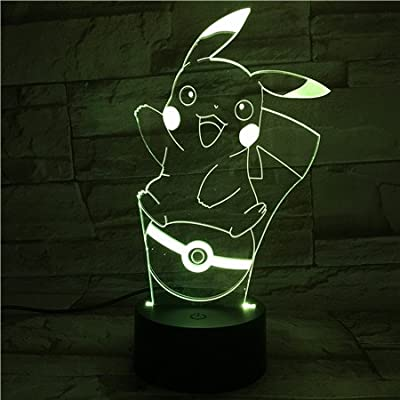 Lampara LED Pokémon Pikachu Pokéball Cambia Color USB Luz Nocturna de WoloShop