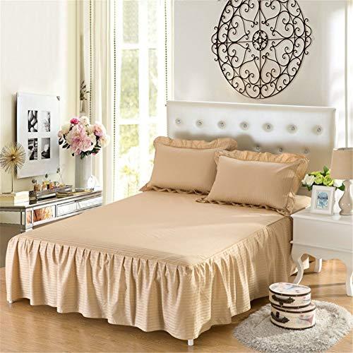 Bettwäsche Set für Bett Rock Polyester Baumwolle Einfarbig Rüsche Falten bettrock für Schlafzimmer weiche bettrock faltenresistent hautfreundlich elastischer bettrock mit - Bettwäsche Staub