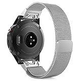 MoKo Fenix 5 / Forerunner 935 Sportuhr Armband, Milanaise Wrist Strap Watchband Uhrenarmband Edelstahl Erstatzband mit Einzigartigem Magnet-Verschluss für Garmin Fenix 5 Smartwatch, Silber, Nicht für Fenix 5X, 5S