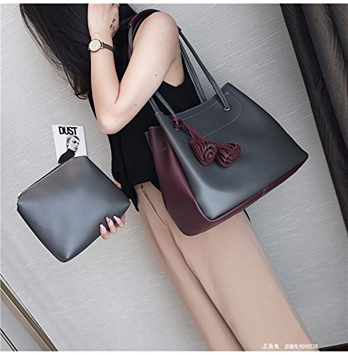 Tasche Weibliche Mode Farbe Tasche Freizeit - Paket Mit Einem Großen Kapazitäten Composite Eimer Tasche,Hellgrau dunkelgrau