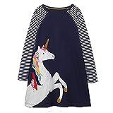 VIKITA Mädchen Baumwolle Langarm Streifen Tiere T-Shirt Kleid JM7656 4T
