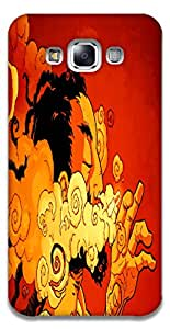 The Racoon Lean printed designer hard back mobile phone case cover for Samsung Galaxy E7. (The Smoker)