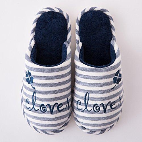 DogHaccd pantofole,Paio di pantofole di cotone femmina di fondo spesso inverno pantofole di peluche inverno pavimento coperto home caldo maschio pantofole Navy