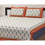 Vihaan Fab India Double Bedsheet Pure Cotton Rajasthani Floral Design Printed With 2 Pillow Covers,Size-(90 X 108 Inch) White Whit Orange Border