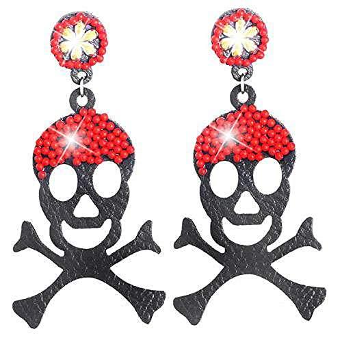 Evil Wear Piraten-Ohrringe Totenkopf Funny Scull schwarz blau Hänger Ohrring Stecker ()