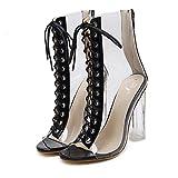 Malloom Römische Schnalle Schuhe Frauen Sandalen Sexy Sandalen High Heels Frau Stiefeletten Römersandalen mit Hohen Absätzen (46, Schwarz) …