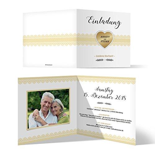40 x Hochzeitseinladungen Goldhochzeit goldene Hochzeit Einladung individuell - Goldherz