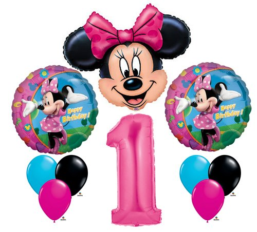 Minnie Mouse #1 1st First Happy Birthday Balloon Party Set Mylar Latex Disney by Anagram