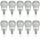 10 Stück Leuchtmittel E14 - 7 Watt 105cd Energiesparlampe Sockel Energieeffizienz: A Warmweiß Spar Paket Lampe Glühbirne