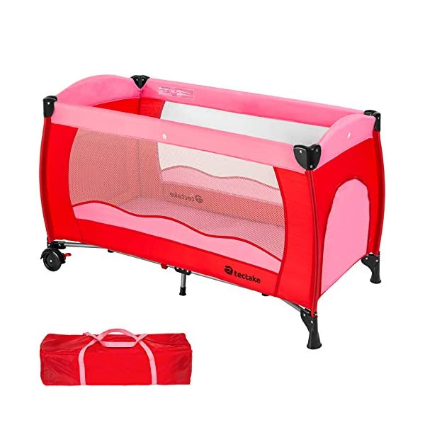TecTake Baby Travel cot Bed playpan with Practical Carry Bag - Different Colours - (Pink | no. 402415) TecTake This wonderful travel cot is especially practical for holidays or spending the night with grandparents // Total dimensions (LxWxH): 126 x 65 x 80 cm // Weight: 8.7 kg. The high-quality, stable frame and mattress offer your little one a comfortable place to sleep on their travels. This practical travel cot can be set up almost anywhere in next to no time // Dimensions, collapsed (LxWxH): 78 x 28 x 25 cm. 1