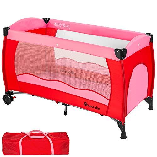 TecTake Cuna de viaje bebe plegable con bolsa de transporte - disponible en diferentes colores - (Rosa | no. 402415)