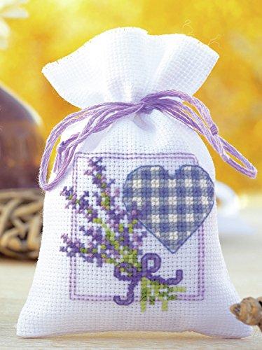Vervaco PN-0143680 Zählmusterpackung Tütchen mit Herz, Lavendel -