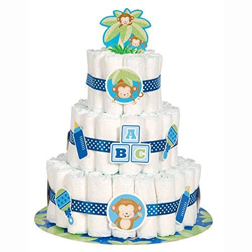 Windelkuchen Windeltorte Set - It's a Boy - mit süßem Äffchen - 25-teilig (Süße Baby-dusche-ideen)