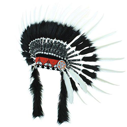 Gringo Indianer häuptling-kopfschmuck - Schwarz & Weiß, One Size Weiße Indianer-häuptling Hat
