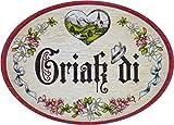 Kaltner Präsente Geschenkidee - Türschild Schild aus Holz im Antik Design Herzlich Willkommen Schriftzug GRIAß DI (Ø 9 cm)