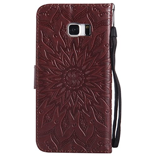 YHUISEN Galaxy S6 Edge Plus Case, Sun Flower Druck Design PU Leder Flip Wallet Lanyard Schutzhülle mit Card Slot / Stand für Samsung Galaxy S6 Edge Plus ( Color : Purple ) Brown