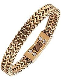 moocare vergoldet Gesundheit Therapie Magnetisches Armband für Herren Schmerz Relif Golf Sport Armband