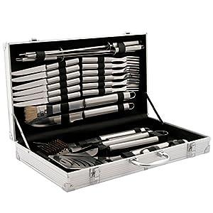 CampFeuer Profi Grillbesteck Set im Koffer I Aluminium Grillkoffer mit Edelstahl Besteck I Grillset mit viel BBQ Accessories (24-teilig)