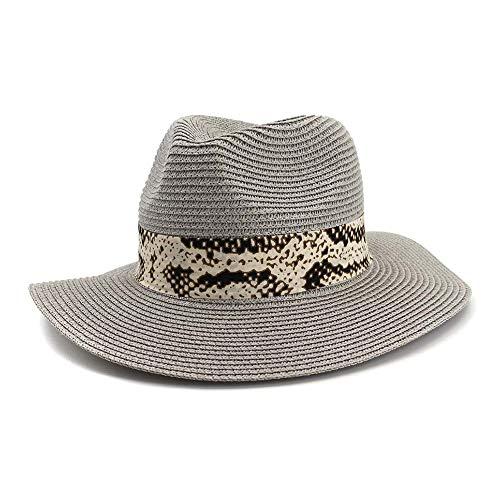 YEEWEN 2019 Mode Neue Sommer Panama hüte aushöhlen Stroh Sonnenhut for männer Frauen Leder Band große krempe Strand Jazz Cap (Farbe : Grau, Größe : 56-58CM) -
