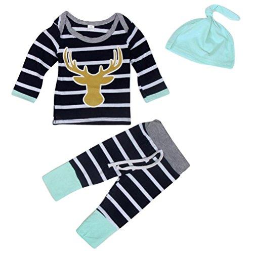 Culater® Natale ragazze bambino Outfit Abbigliamento Elk stampa della banda T-shirt + pantaloni lunghi + Hat 1Set (80)
