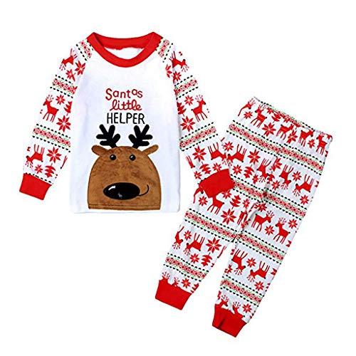 ZAMAC Jungen Weihnachten Pyjamas Set für Kinder Weihnachten Pjs Kleinkind Mädchen Santa Kleidung 2 Stück Langarm Nachtwäsche Unisex Winter Nachtwäsche 1-7 Jahre (Mädchen Weihnachten Pjs)