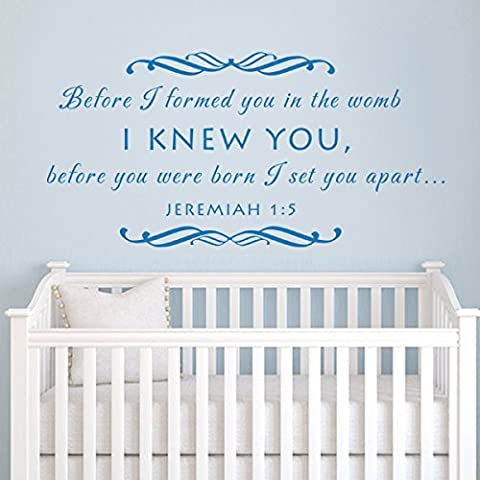 Before I formed you JEREMIAH 1:6 Nursery Wall Decal Vinyl Nursery Quote Bible Wall Sticker Wall Letters Phrase Words Wall Mural Graphic Nursery Room Art Decor Black
