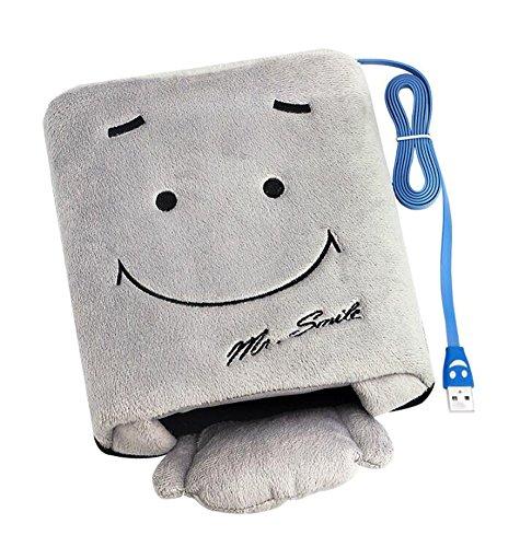 Main Warmer USB Tapis de souris Smiley Gris