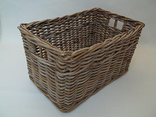 Holzkorb, Regalkorb Kaminkorb, Erntekorb aus Rattan, beige-grau, Gr.2