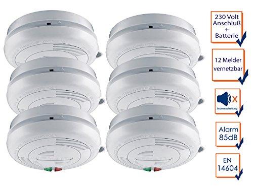 6er-Set vernetzbare / koppelbare Rauchmelder mit 230 Volt-Anschluß + Sicherheitsbatterie