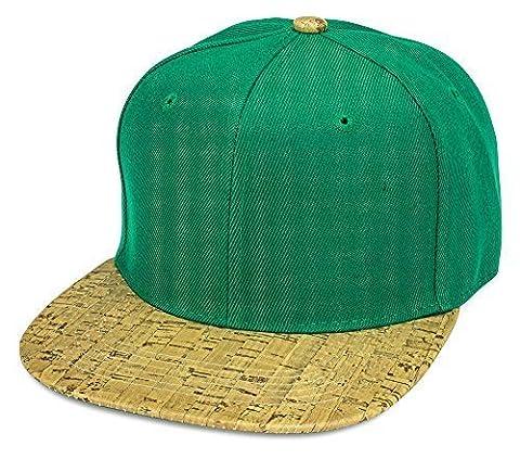 Sense42 Snapback mit Schirm im Holz Kork Design Flat Cap Bill Unisex Hip Hop Kappe Schirmmütze One Size in verschiedenen Farben Grün, Helles Holz Design