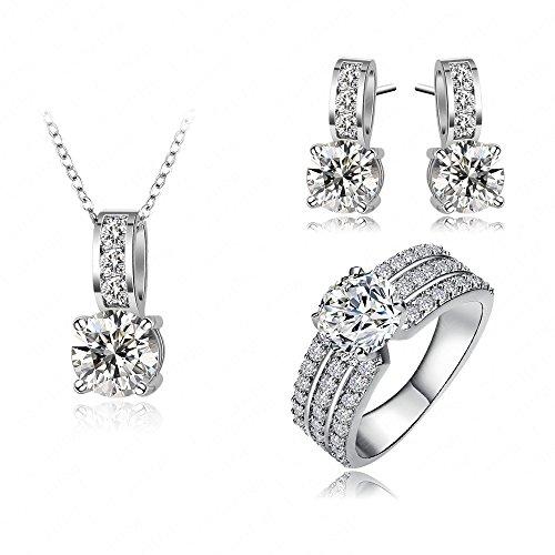 AnaZoz Schmuck 18K Vergoldet Set Zirkonia Ohrringe Halskette Ring Hochzeits Set Größe 60