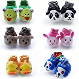 #2: Home Cubes Born Baby Fancy Cartoon Face Socks cum Shoes (Set of 1,Multicolor)
