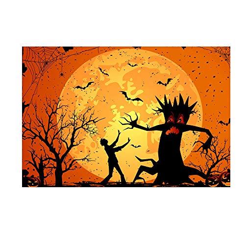 Heetey Halloween Dekoration Halloween-Hintergrund-Kürbis-Vinyl 5x3FT Laternen-Hintergrund-Fotografie-Studio Weinlese-Kürbis-Schloss-Helles Party-Hängen Für Den Außeneinsatz im Freien