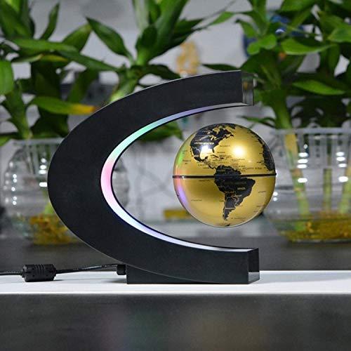Levitación Anti Gravity Globe Mapa del mundo flotante magnético con luz LED para regalo de los niños Decoración de escritorio de oficina en casa, Oro