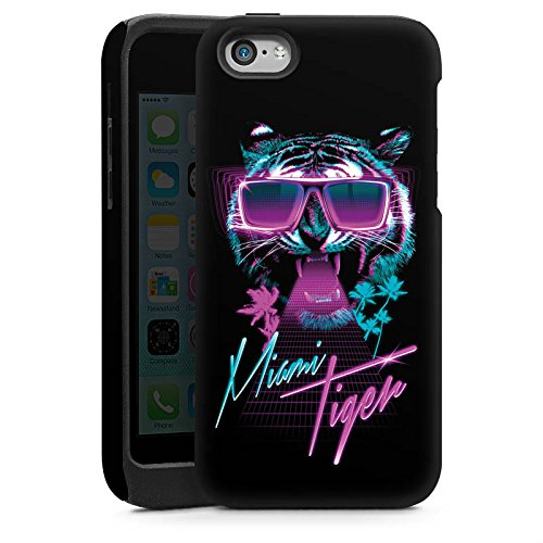 Apple iPhone 5s Housse étui coque protection Miami Tigre Lunettes de soleil Cas Tough brillant