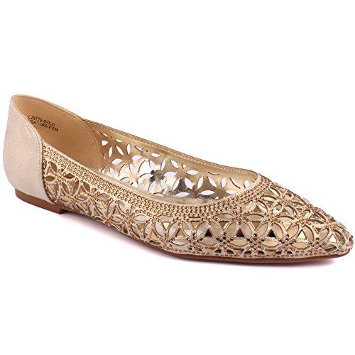 Unze New Damen Damen 'Emona' Cutout entworfen Diamante verschönert Abend, Hochzeit, Prom Party Slip-on flache Schuhe Größen 3-8 - FEE1020-8 Gold