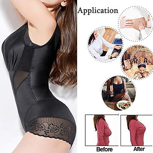 Ning Abnehmen Körper Damen Unsichtbar Nahtlos Body Shaper Bauch Flach Abnehmen Bodysuit Shapewear,Black,XXXL -