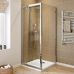 iBathUK 800 x 800 Pivot Hinge 6mm Glass Shower Enclosure Reversible Door + Side Panel