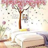 Mural Selbstklebende Hintergrund Wand, Selbstklebende Wandtattoos Schlafzimmer Ehe Zimmer verzierte Bett und gemütliche Wohnzimmer TV Hintergrund Aufkleber Poster zu entfernen Kirschbaum, dekorative