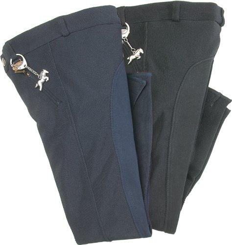 USG United Sportproducts, Pantaloni da equitazione Bambino Melanie, Nero (Schwarz/Braun), 122 cm