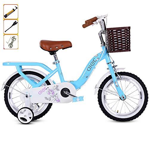 MUYINGASD Kinderfahrrad 2-12 Jahre Altes Mädchen Pedal Fahrrad 14/16/18/20 Zoll Prinzessin Student Fahrrad, Klassische Retro-Fahrrad, Hilfsrad Anti-Fall,Blue,14
